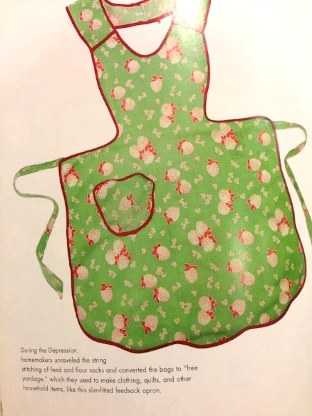 an Apron from a feed sack bag  Photo from The Apron Book - EllynAnne Geisel
