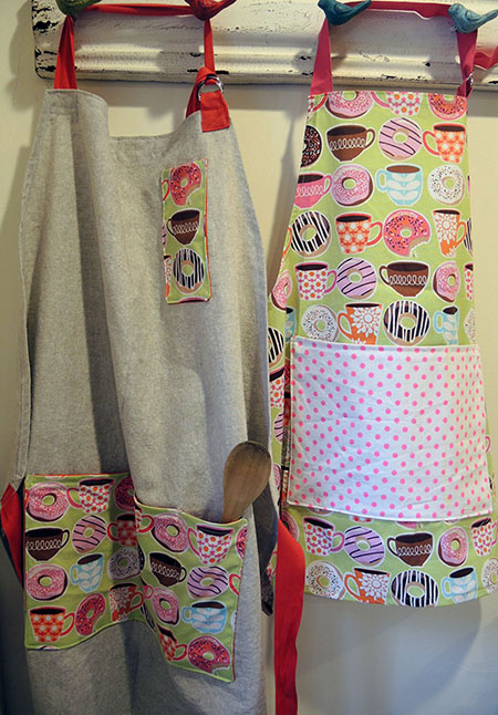 adult and kids linen aprons