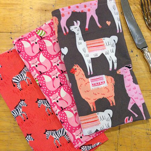 alpaca fox zebra napkins