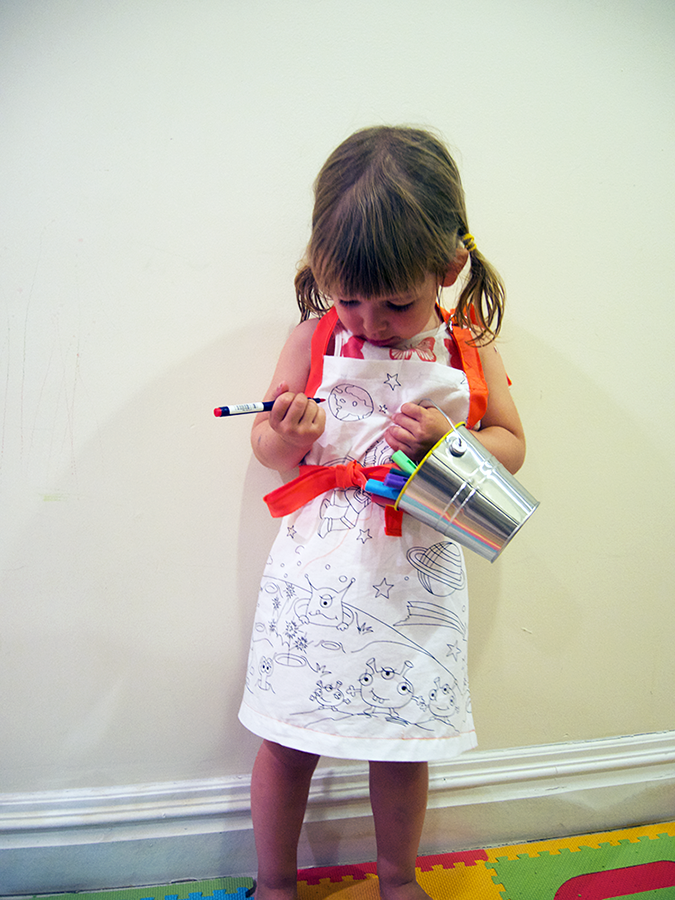 kids apron color me fabric