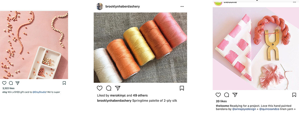 Here is dusty blush pink with peaches, yellows and whites.  From left to right, Etsy,  Brooklyn Haberdashery  and  The Loome .