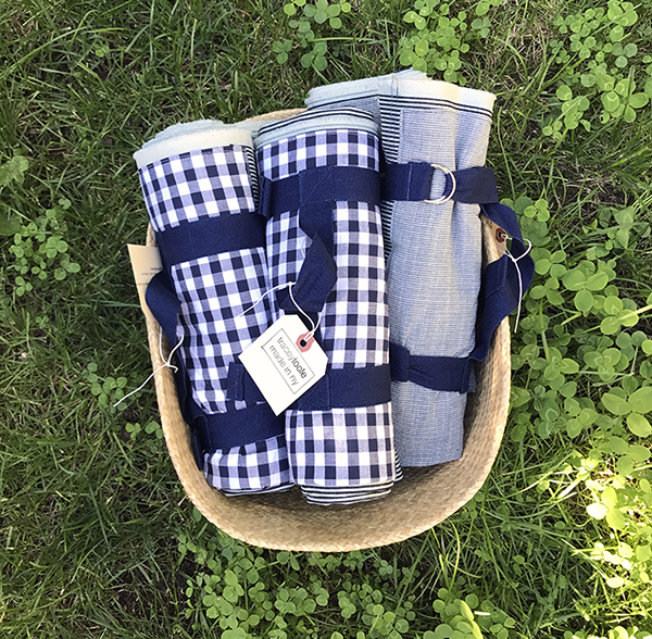 Conductor Stripe Denim Picnic Blankets with twill ties, carry strap and d-ring closure.
