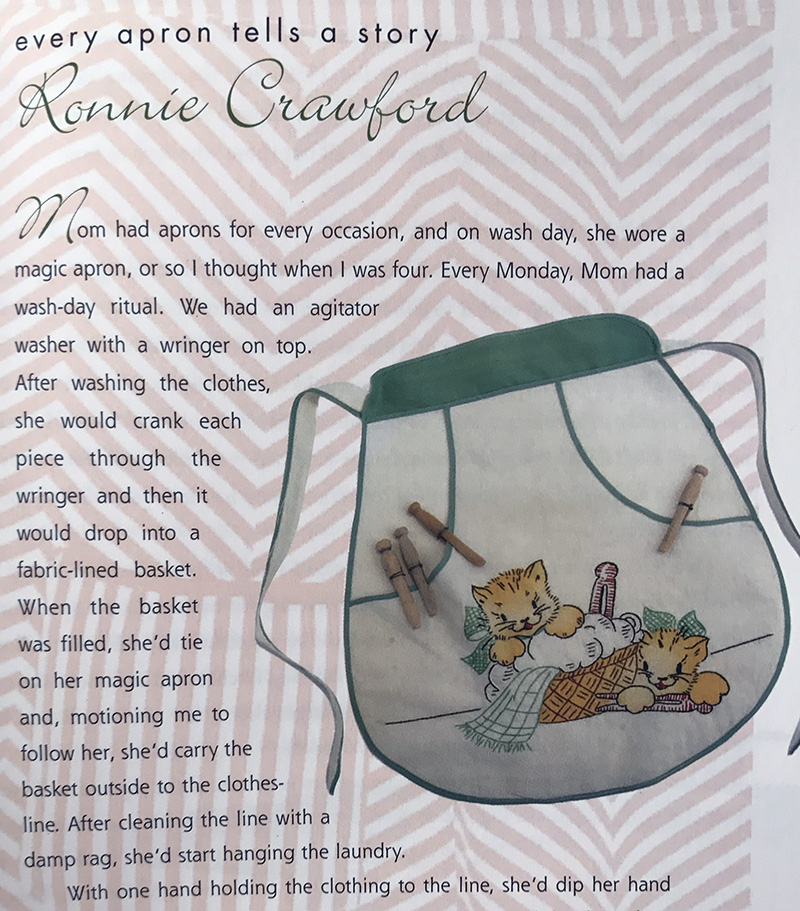 The best for last, a Kitty Apron. The date is not given but looks like a 1940's or 50's graphic on the apron. Also from the Apron Book by EllynAnneGeisel