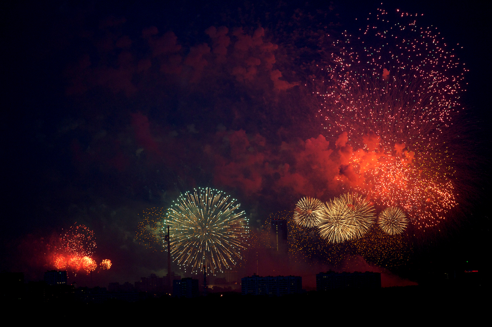 Firework in the Victory Park in honor of Victory Day in Moscow, Russia.