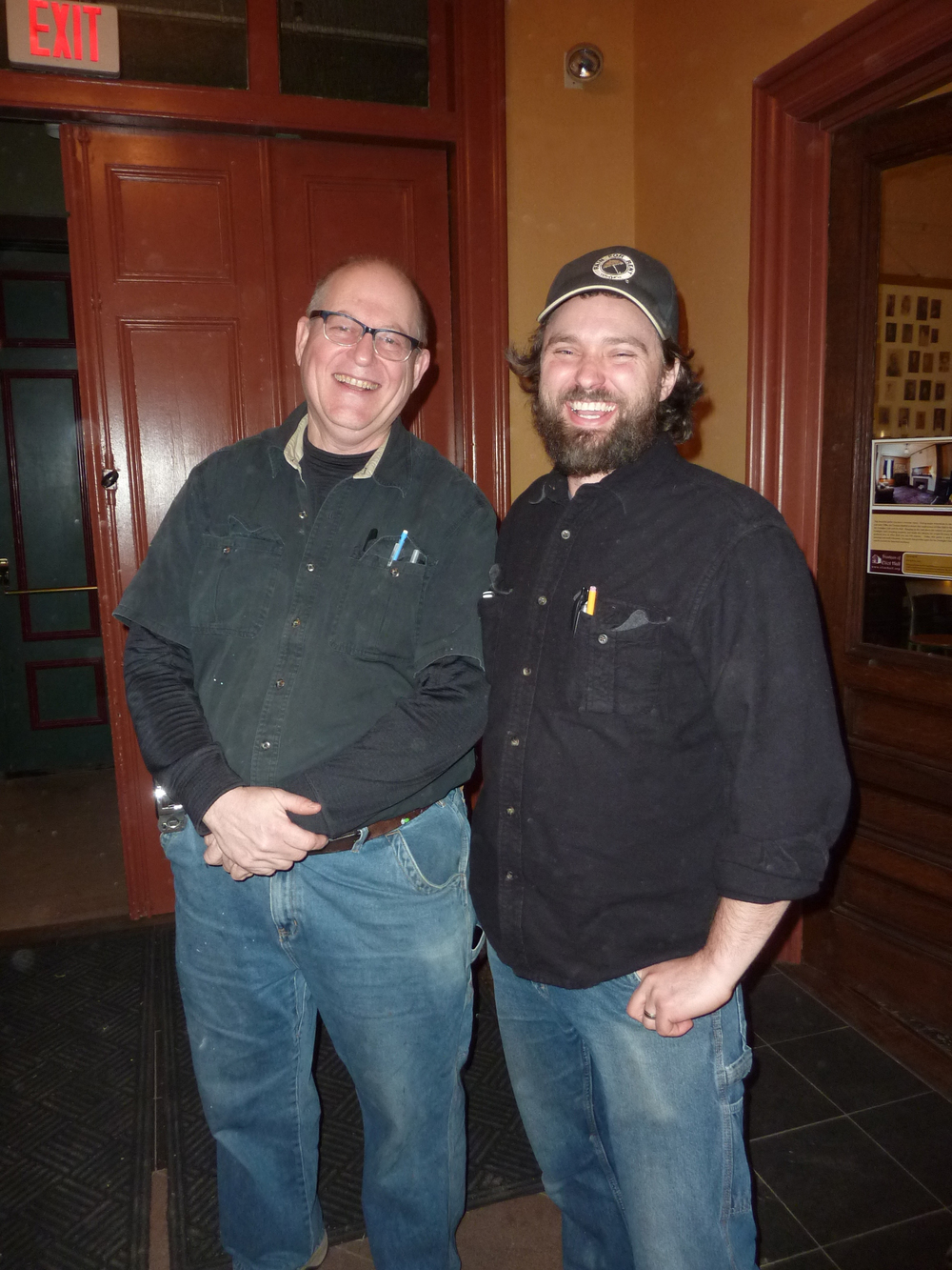 Longtime BBR member Jay Larson, left, also a member is IATSE, with Adam McClain.