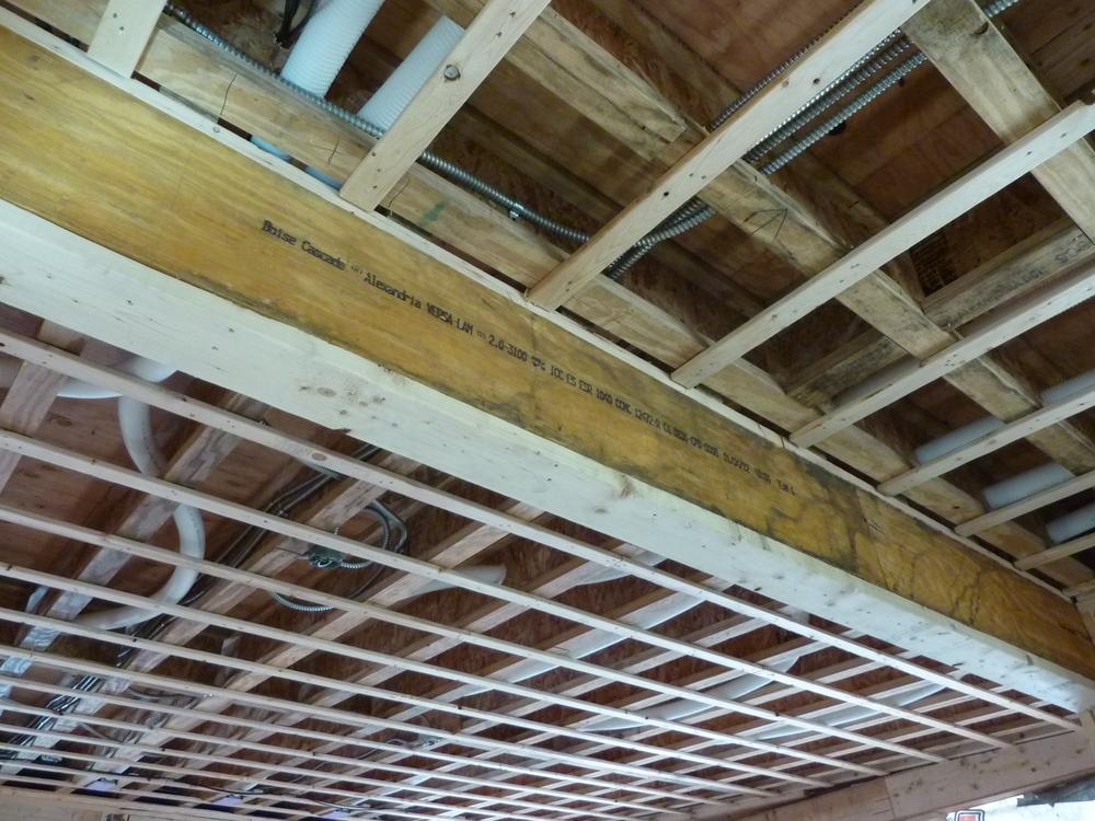 Donated LVL (laminated veneer lumber) beam in its new home
