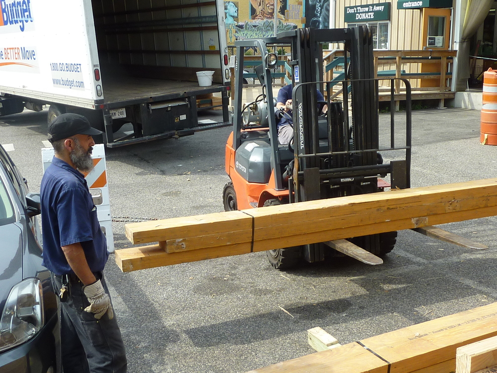 Forklift helps staffers move materials