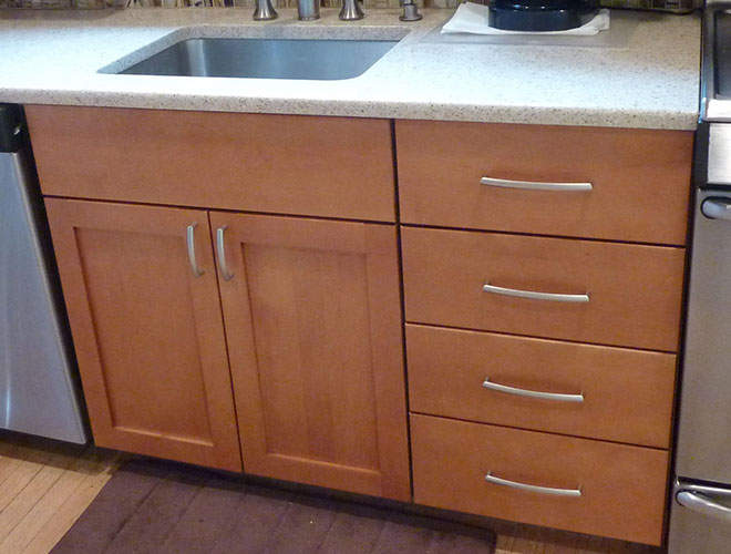 Cabinets are frameless with all-plywood construction.