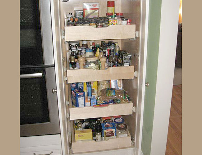 Pullouts help with pantry storage