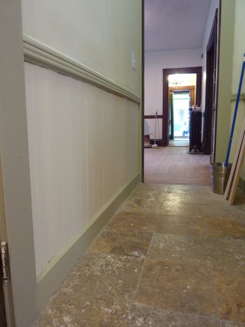 Wainscoting and flooring are looking good.