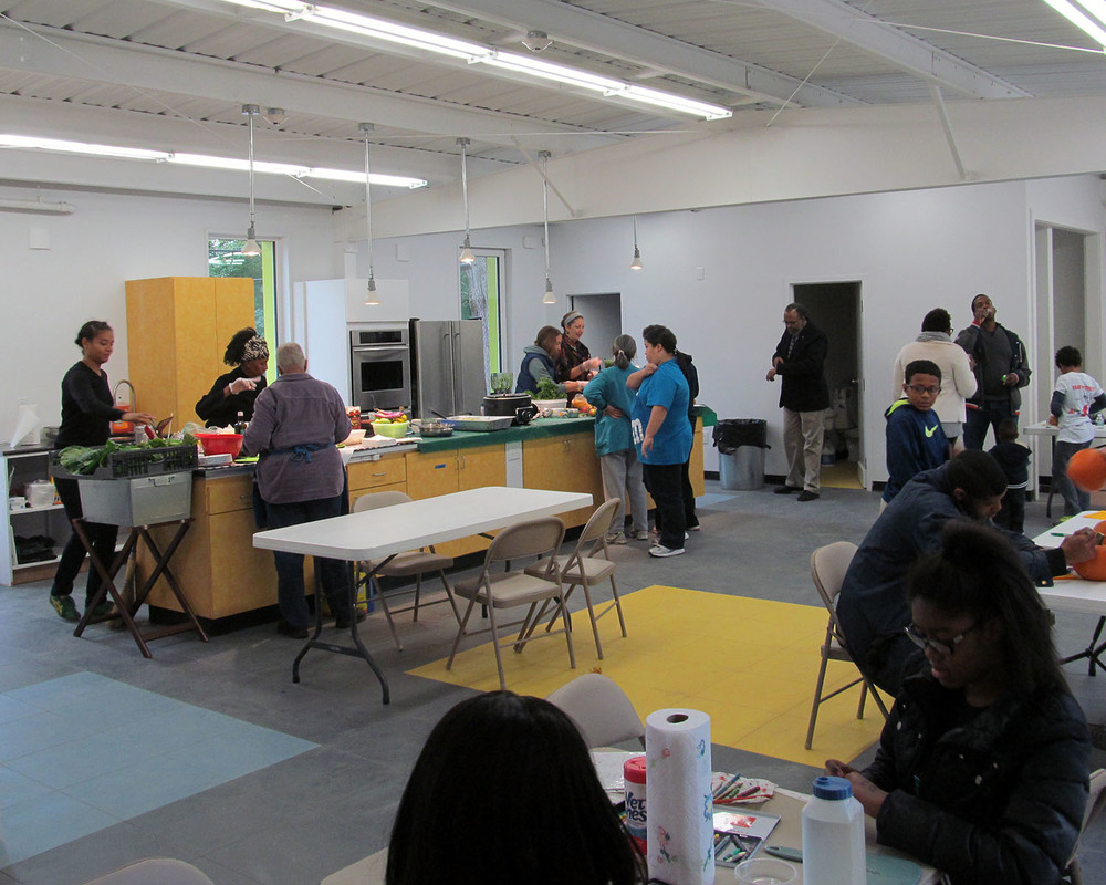 Neighbors enjoyed the space at this Green Food Fest on October 24.
