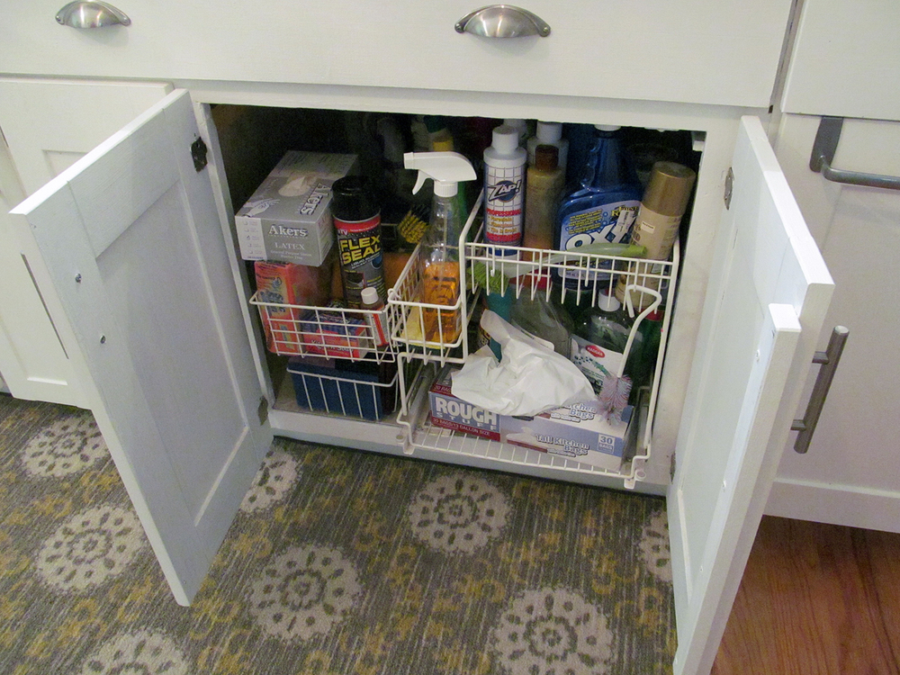 It's not glamorous, but keeping the under-sink area organized sure is useful. Pullout organizers like this can be very expensive, but this one was purchased for just $5.