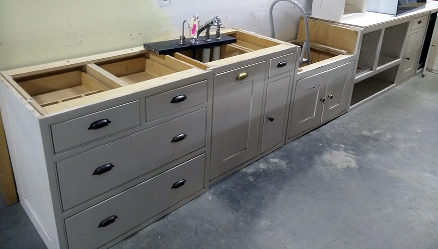 Cabinets in the Reuse Center before purchase