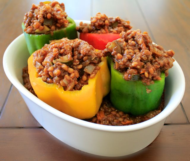 BBQ Lentil Veggie Stuffed Peppers