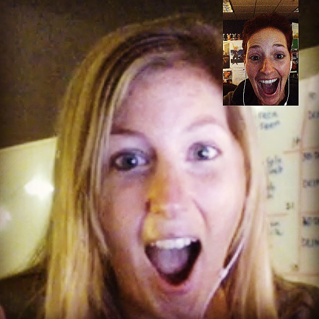 Here's our joyful, terrorized faces after we signed up together via FaceTime.