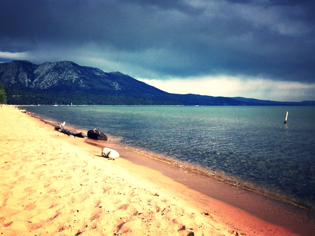 Lake Tahoe with impending storm clouds on the horizon. We've experienced a couple cracking thunderstorms while camping here!