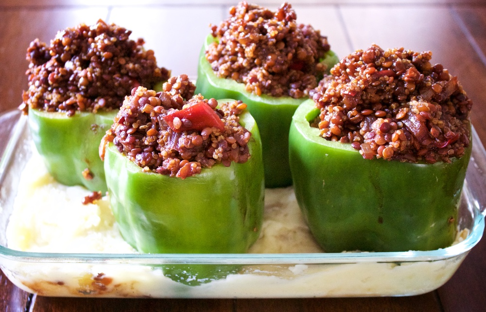 BBQ Lentil Stuffed Bell Peppers