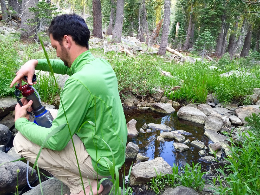 MSR MiniWorks EX Water Filer in action