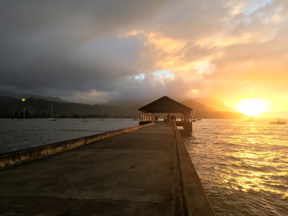 If you stay in Hanalei during the summer months you can be treated to a spectacular sunset like this one. Sunsets aren't seen during the winter months on this side of the island.
