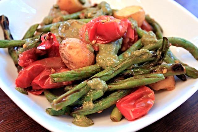 Grilled Green Bean, Tomato, Potato Pesto