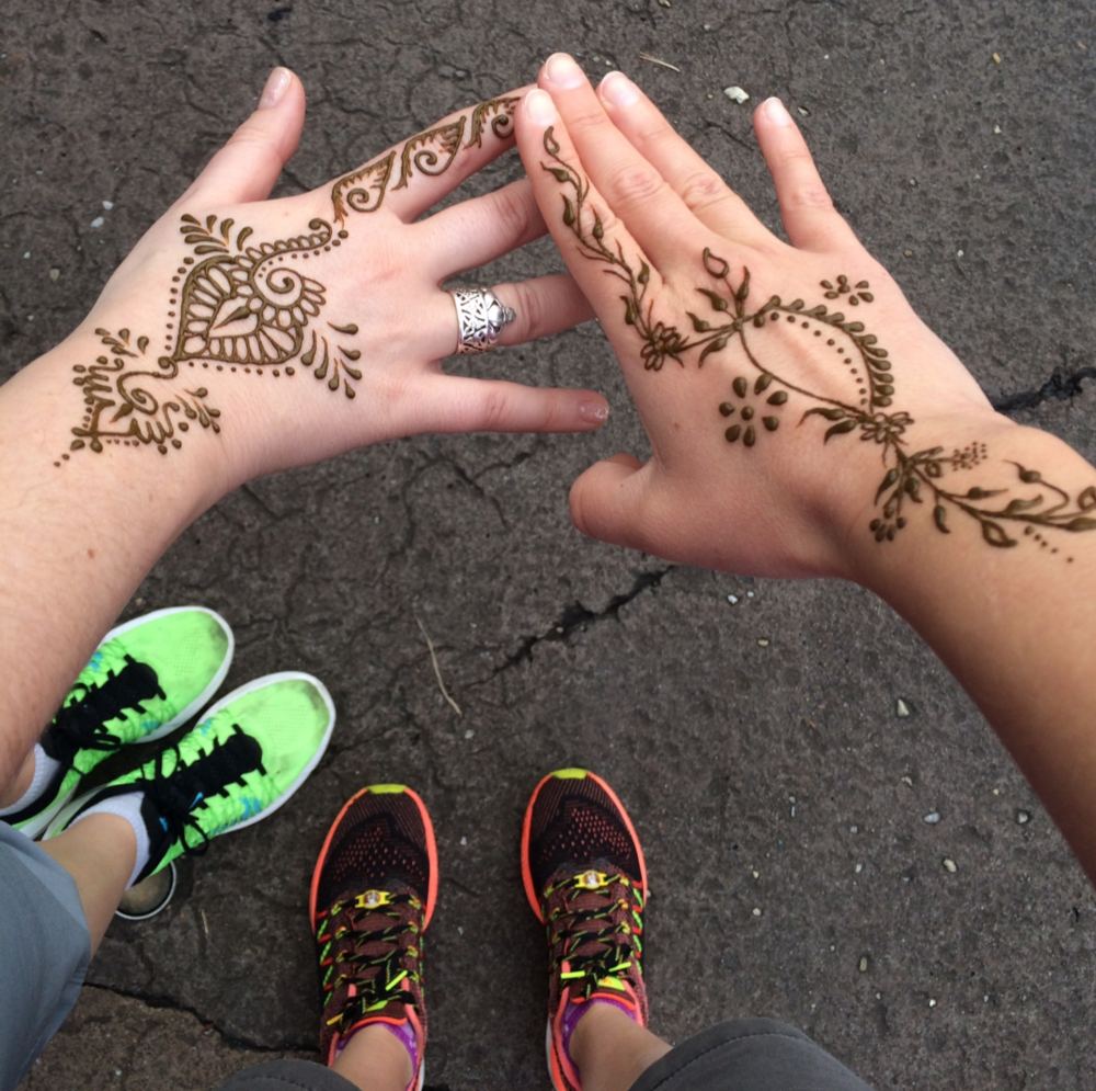 Henna tattoos and running shoes at Animal Kingdom!