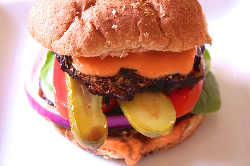 Portobello Mushroom Burger with Red Pepper Hummus Sauce