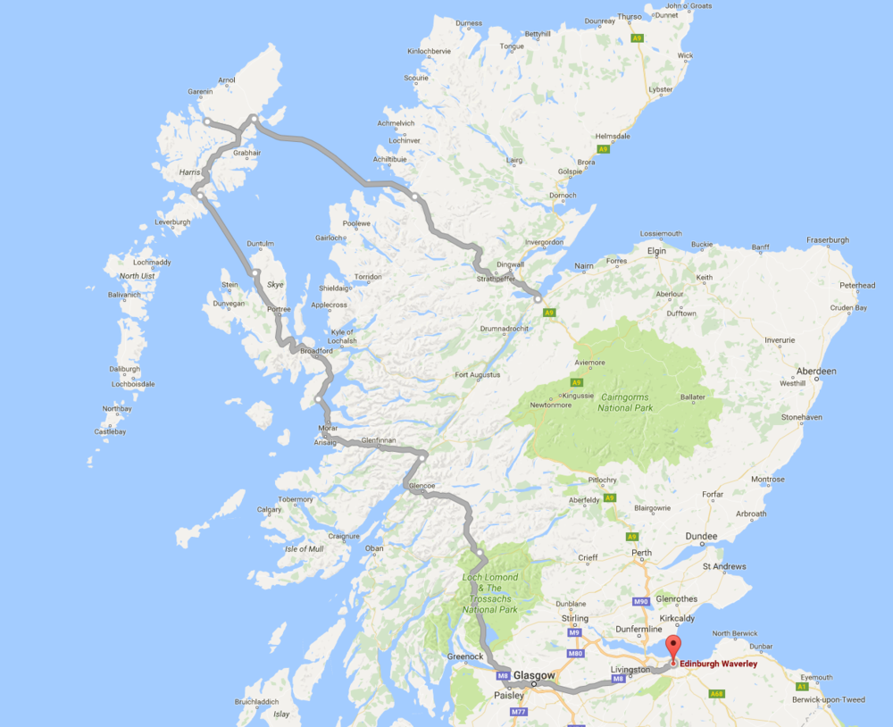 Scotland 2016 Cycle Route