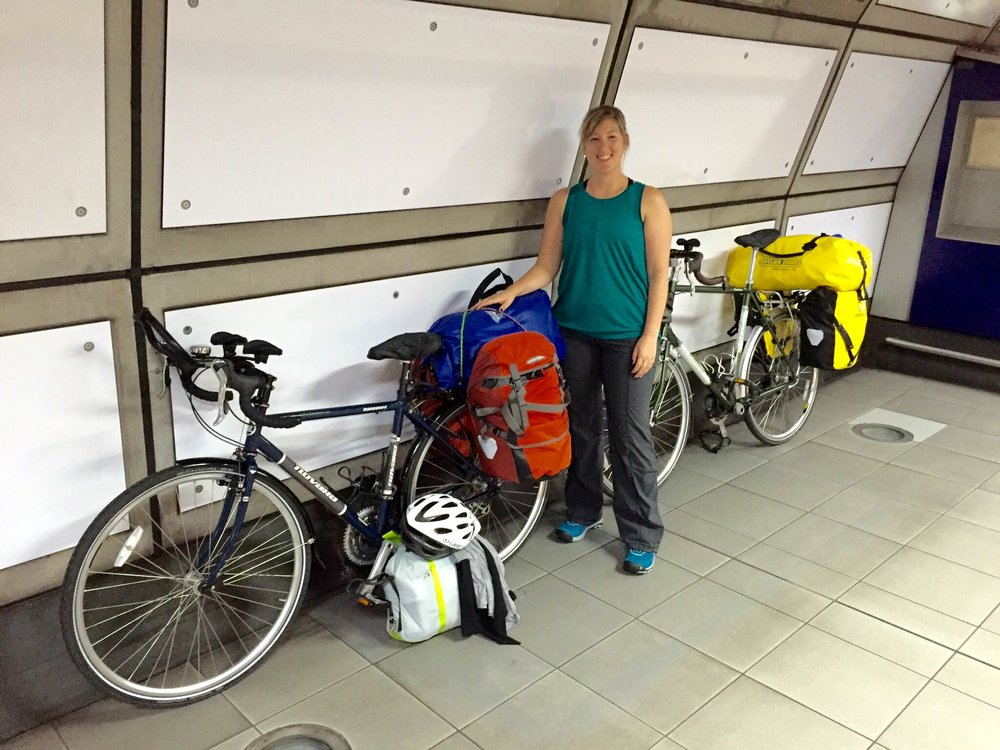 Getting ready to board the Heathrow Express with our bikes!