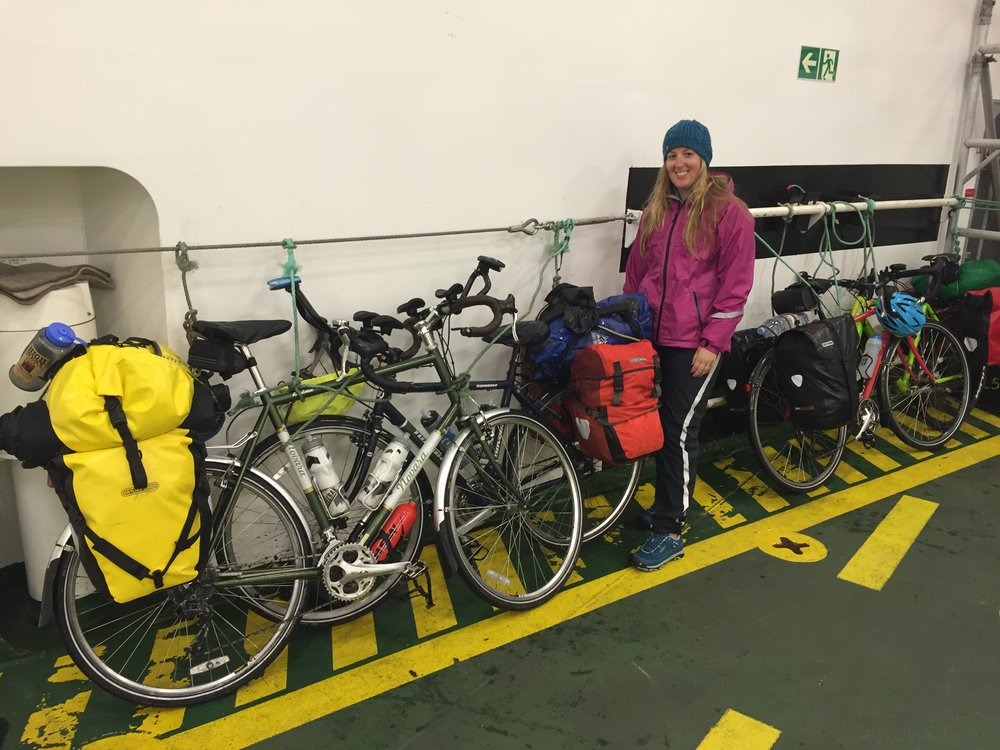 Securing our bikes on the MV Loch Seaforth for the crossing to Stornoway