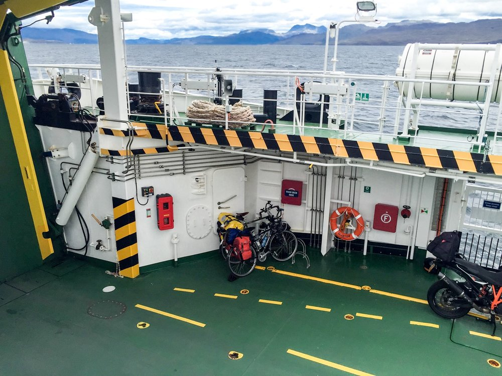 Crossing on our smallest ferry, the MV Coruisk, from Armadale to Mallaig.