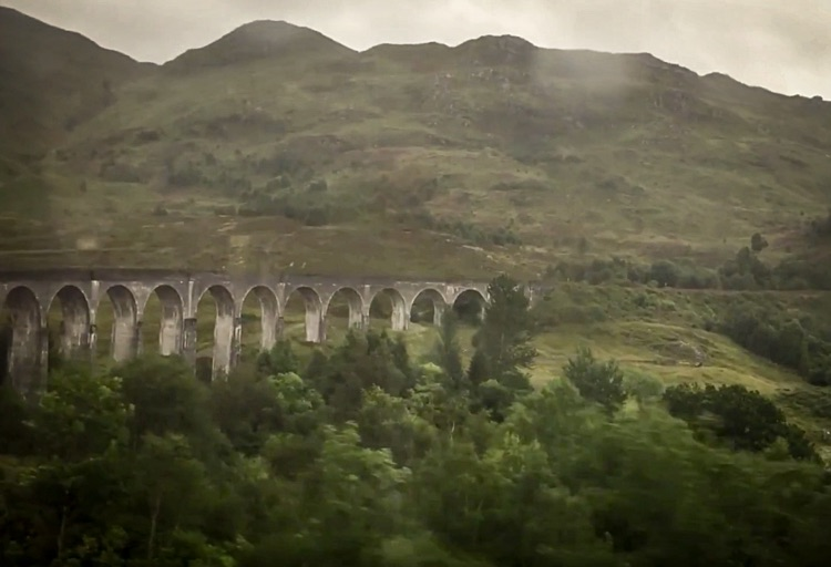 Crossing the Glenfinnan Viaduct, also known as The Harry Potter bridge!