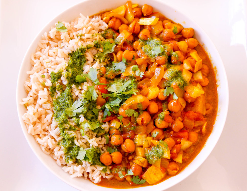 Chana Masala with Green Chutney