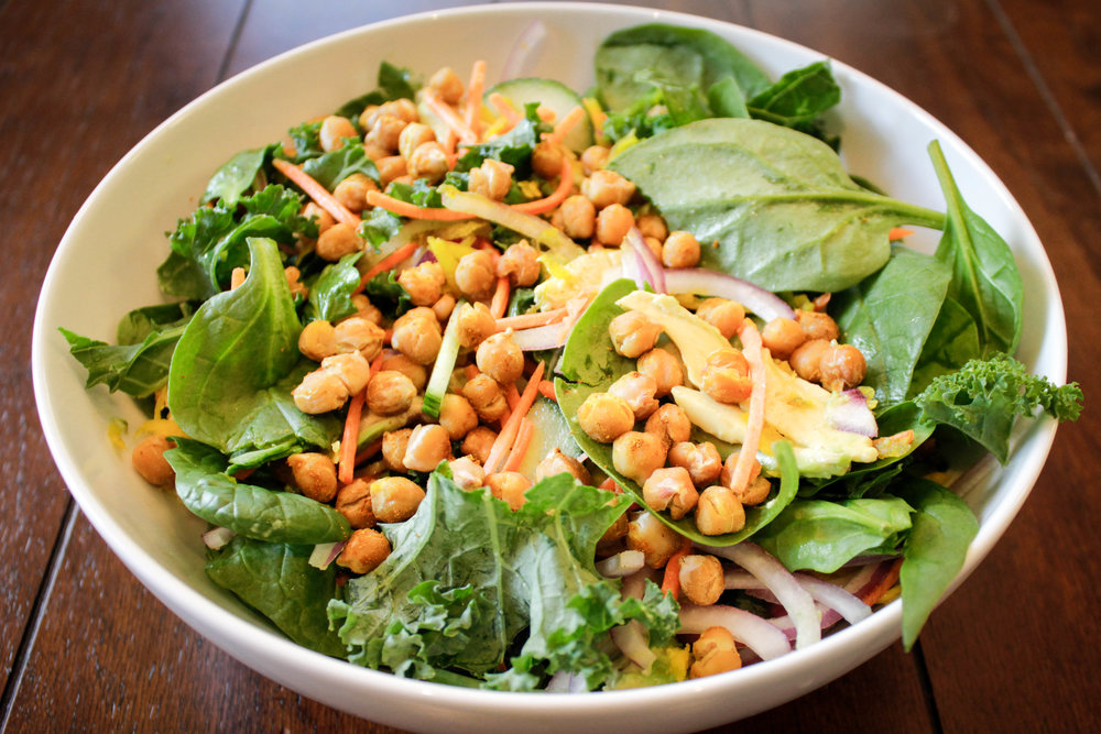 Grated Beet & Curried Chickpea Salad with Lemon Hummus Dressing