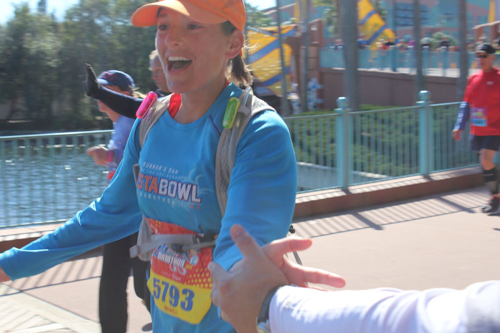 Marci getting her high fives during our last two miles from Team Fox!