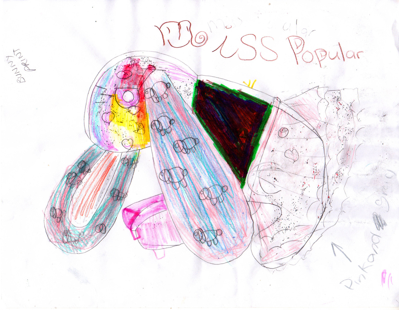 Bunny Bag design by Zooey K.,  9 years old.   Please note the bunny print, tu-tu, and high heels. <3 <3 <3