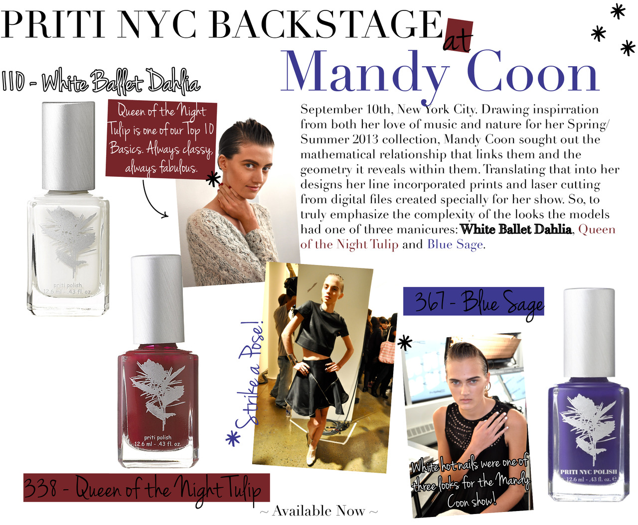 pritinyc :     Priti Fashion Week Highlights:   Mandy Coon   with   White Ballet Dahlia  ,   Queen of the Night Tulip  , and   Blue Sage  !