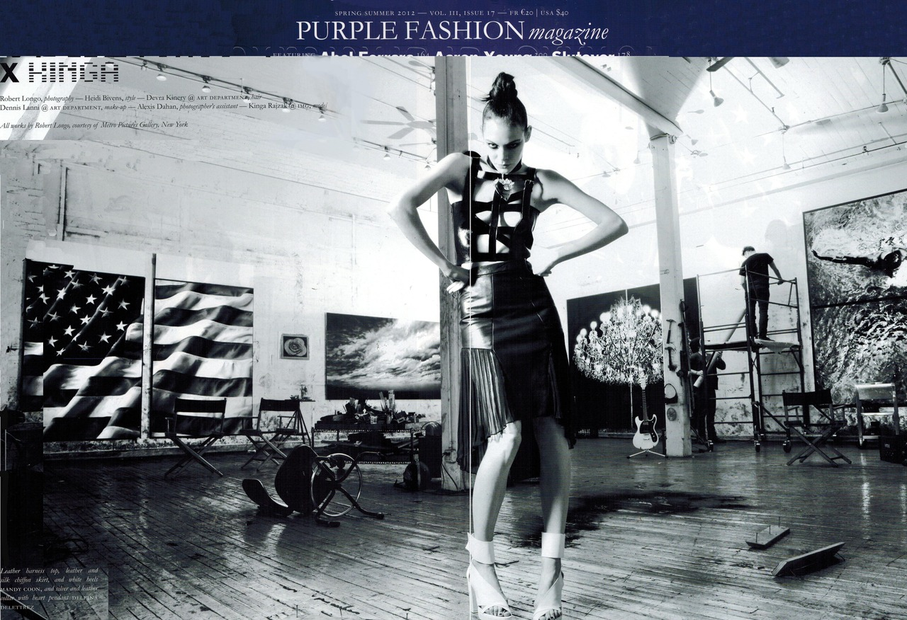 nouveaupr :      magazine  purple    issue  spring 12    leather harness  mandy  coon     silk chiffon pleated leather skirt  mandy  coon     shoes  ld  tuttle   for  mandy  coon     stylist  heidi bivens    photography  robert longo