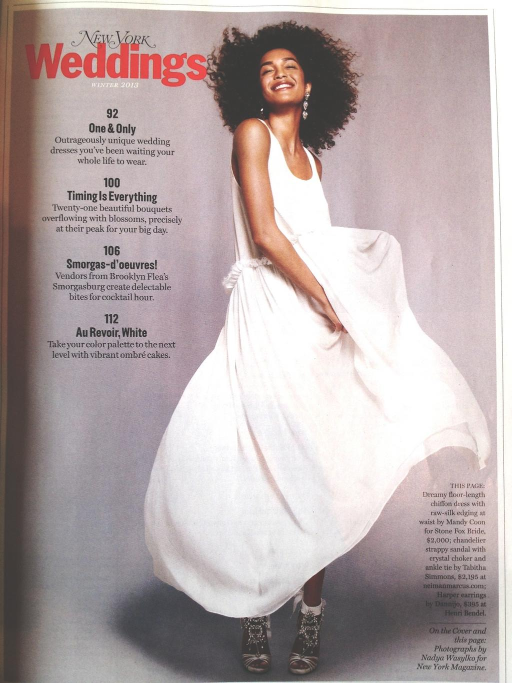 "‏  @ StoneFoxBride        ""Thank you  @ NYMag   for featuring  @ mandycoon   for SFB white chiffon dress in the latest NY Weddings issue""."