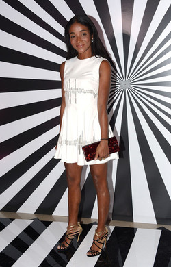 Genevieve Jones in MC Spring/Summer '13.  At the Rob Pruitt X Jimmy Choo Collaboration Party.   White Leather Laser Cut Love xx