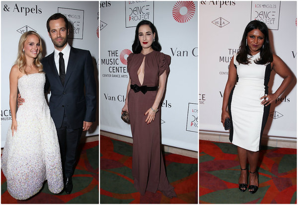 MINDY KALING IN MANDY COON … Gorgeous  Los Angeles Times :  Natalie Portman and Benjamin Millepied, from left, Dita Von Teese and Mindy Kaling attend the opening night performance of the L.A. Dance Project presented by Van Cleef & Arpels. (Alex J. Berliner / ABImages / September 22, 2012