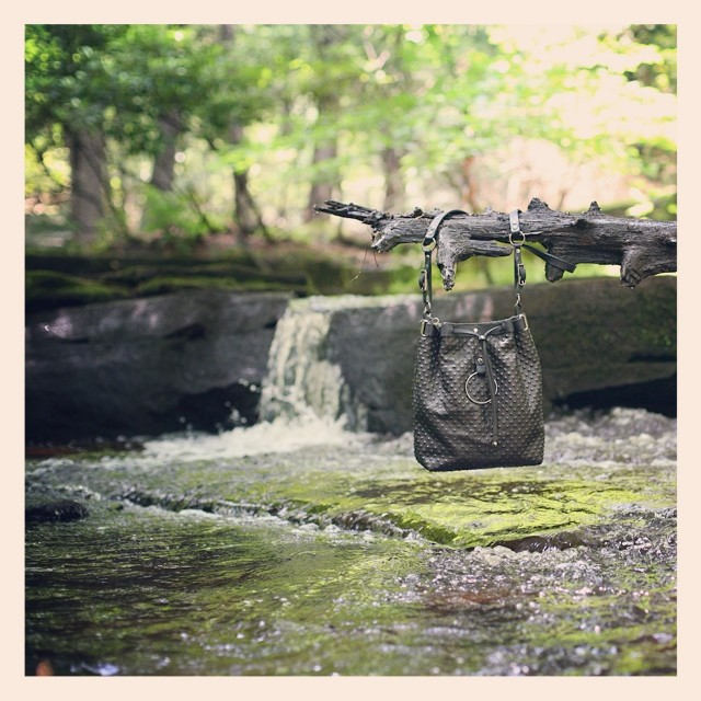 "ORPHIA Bucket Bag in Black Textured ""Pois"" Leather on mandycoon.com #bagoftheday #botd #intothewoods #handmade #upstate #leather #accessories"