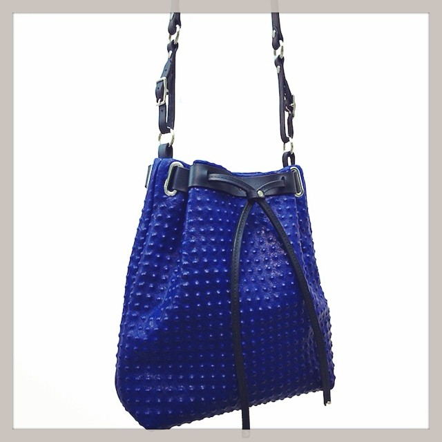 ORPHIA bucket bag in royal blue textured leather.  #bagoftheday #botd #accessories #intothewoods #mandycoon