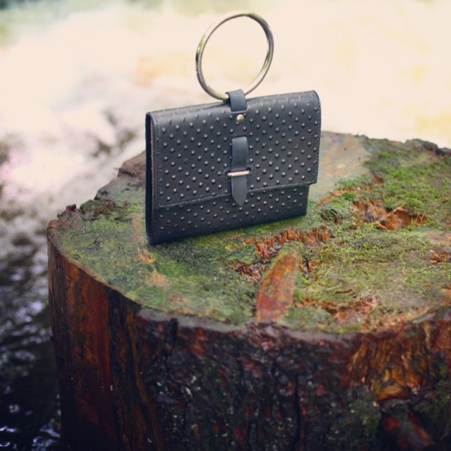 STARGAZER Ring Handle Clutch in Black Textured Leather  #bagoftheday #botd #mandycoon #intothewoods