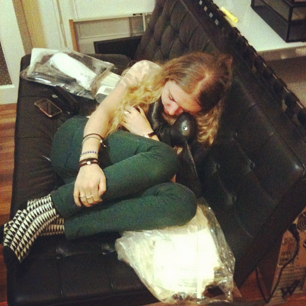Late nights at the studio call for bunny naps.