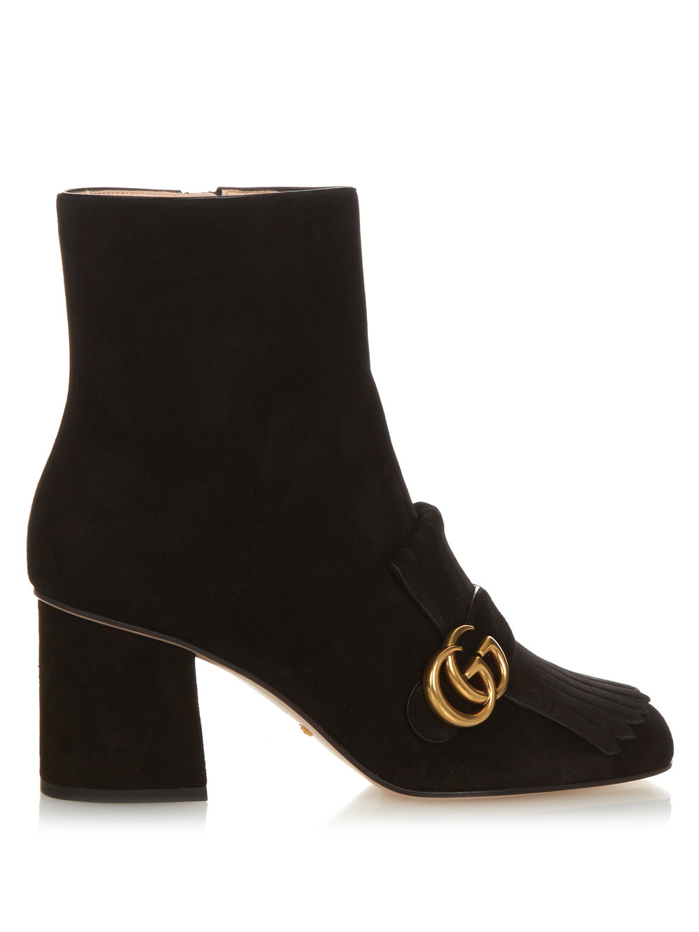 Black Suede Block Heel Boots with Mega G Buckle   Gucci £710