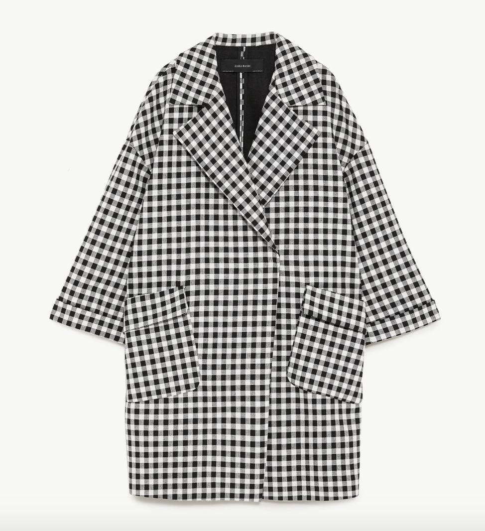 Gingham Oversized Coat  ZARA £89.99