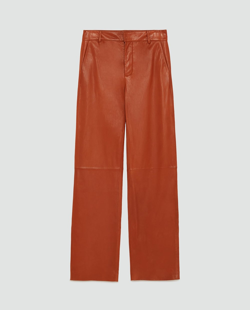 Burnt Orange Wide Leg Leather Trousers  Zara £179