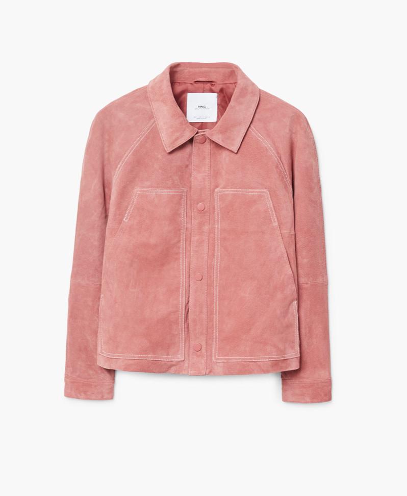 Blush Suede Jacket with Stitching   MANGO £89.99