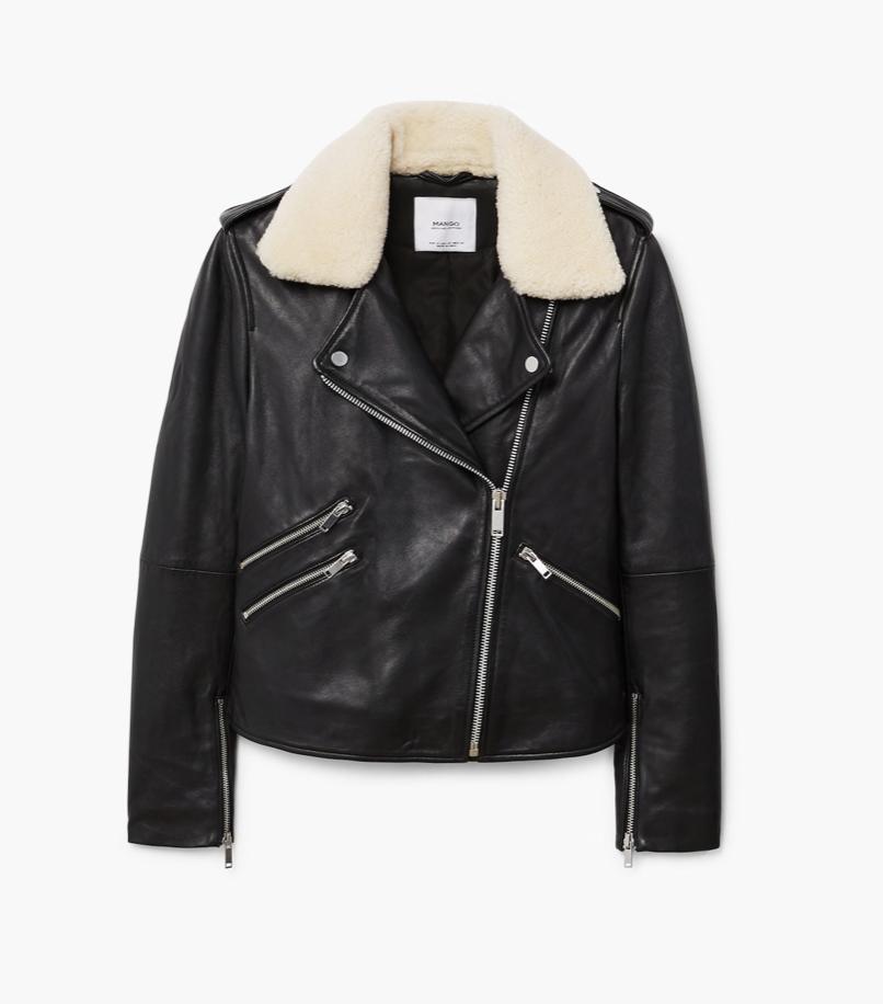 Black Leather Jacket with Sheepskin   MANGO £169.99