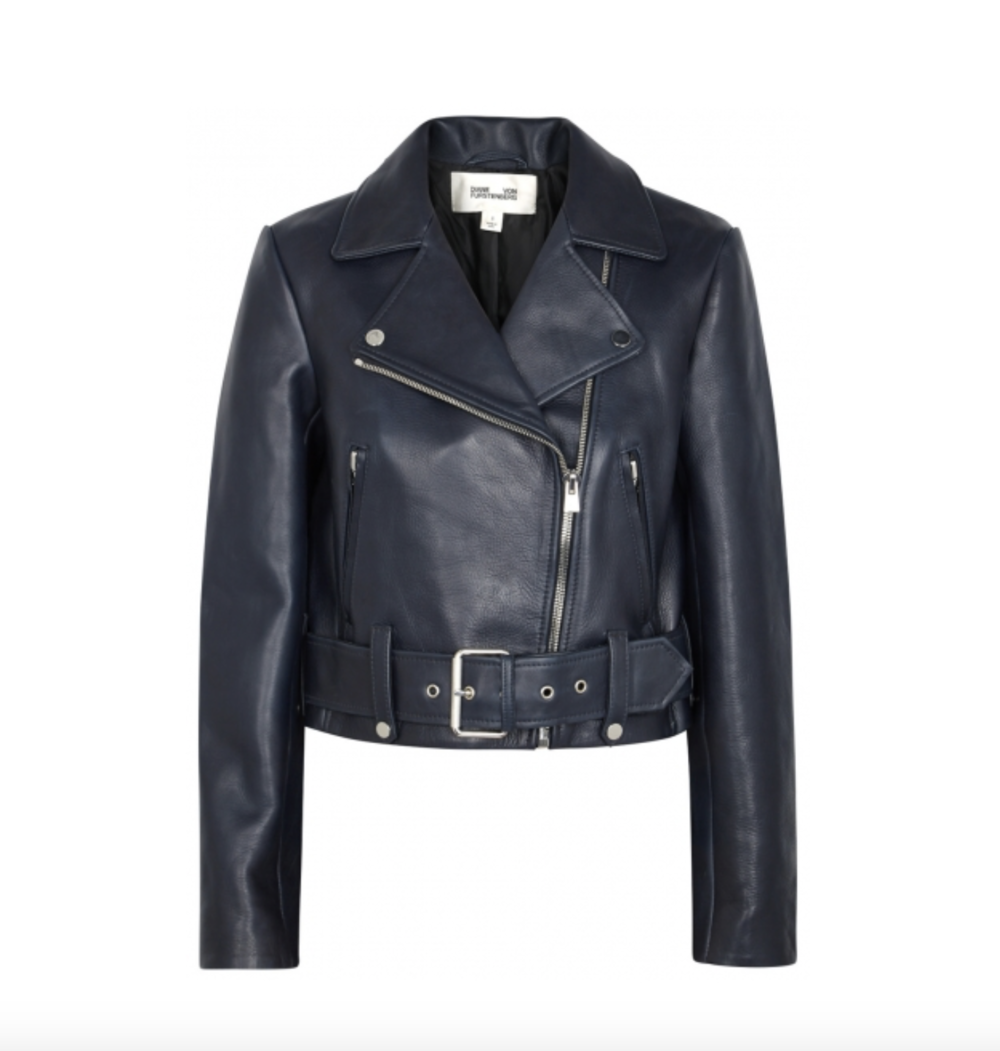 Navy Leather Jacket   DVF £870